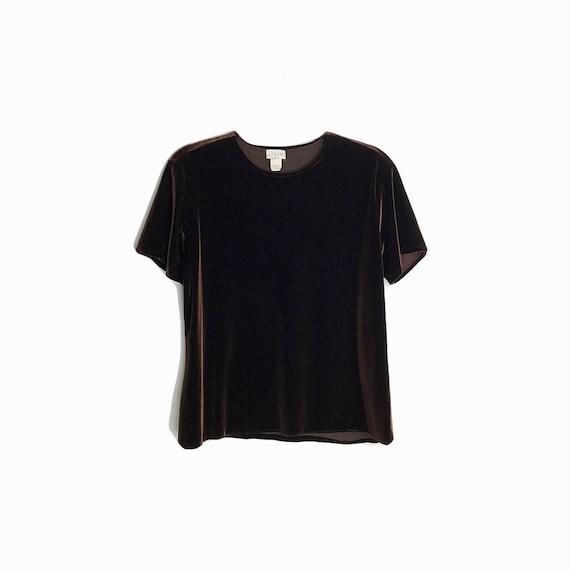 Vintage 90s Chocolate Brown Velvet Top / Brown Velour Tee / Short Sleeve Velvet Top / 90s J.Crew - women's XL