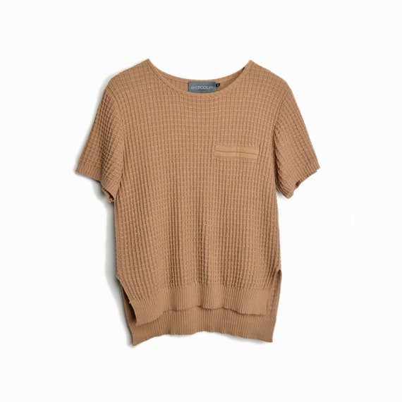 ANTIPODIUM Short Sleeve Waffle Knit Sweater Top in Tobacco - size medium