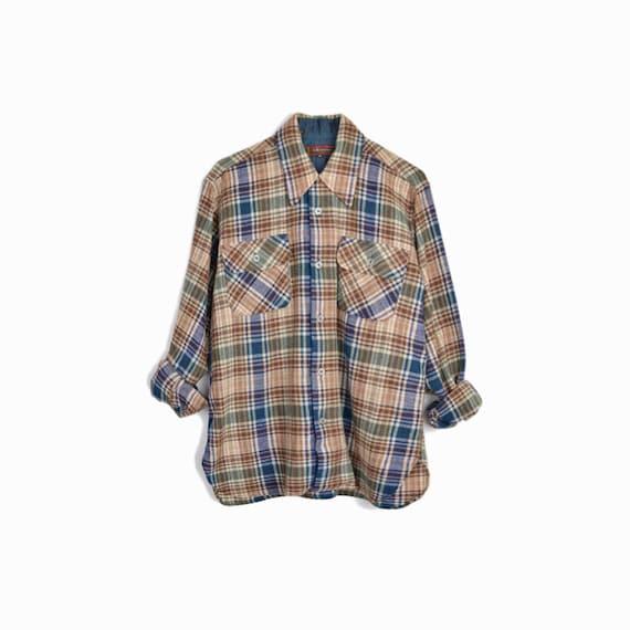 Vintage 80s Distressed Plaid Work Shirt / Brown Blue Plaid Shirt / 1980s Woodsman Shirt / Lumberjack Style Wool Shirt - men's medium