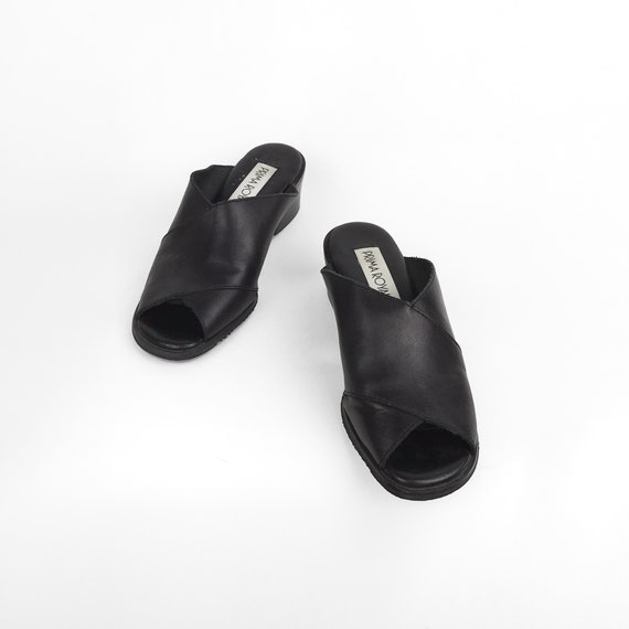 black leather sandals | peep toe slides