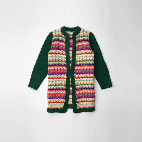 1970s striped duster cardigan | granny sweater