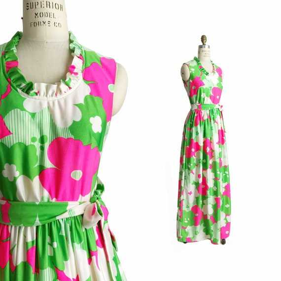 Vintage 1960s Flower Power Maxi Dress in Green & Pink / Ruffle Neck Maxi Dress / 60s/70s Colorful Floral Maxi Dress - women's small