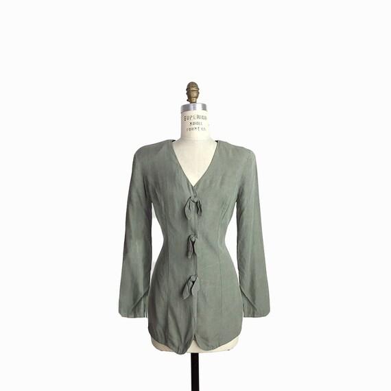 Vintage 90s Lightweight Jacket Top in Brushed Sage / Distressed Jacket / Power Shoulders / Sage Green - women's small