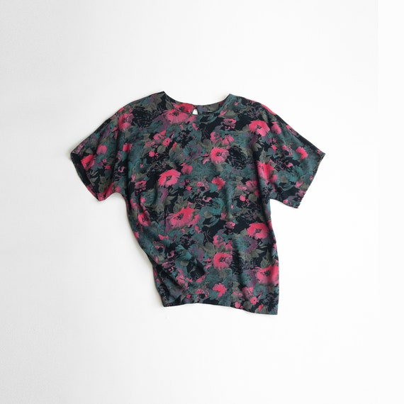 vintage botanical print top | pink teal floral blouse