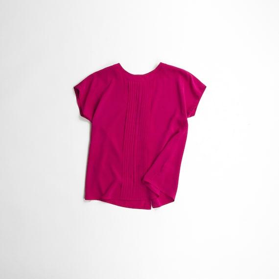button-back vintage top | hot pink blouse