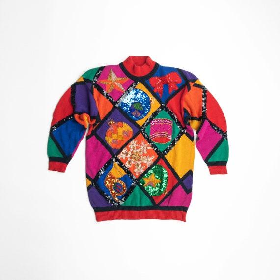 90s rainbow Christmas sweater | beaded ugly Christ
