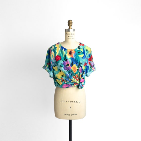 teal floral blouse | botanical print