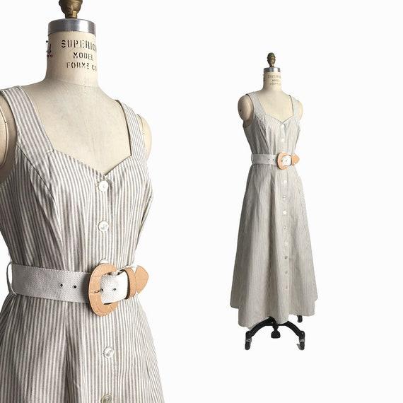 Vintage 90s Natural Stripe Maxi Dress / 90s Summer Dress / Button Front Dress - women's small