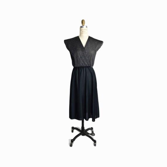 Vintage 80s Black & Silver Lurex Party Dress  / Little Black Dress - women's small