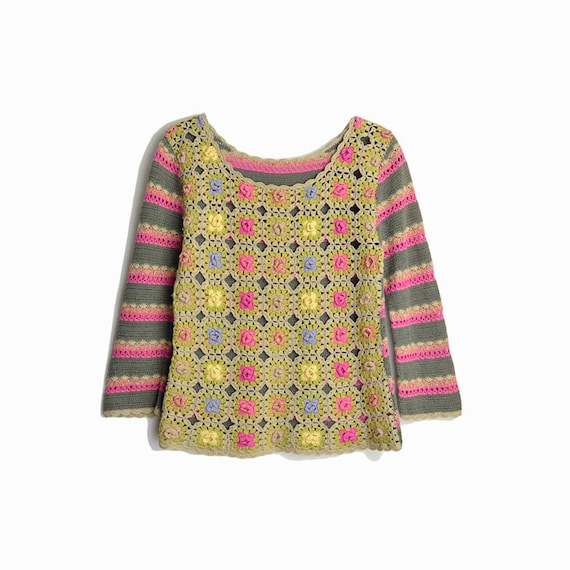 Vintage 90s Colorful Crochet Sweater Top in Pink & Green / Rosette Knitted Stripes / 90s Hippie Boho- women's xs/small