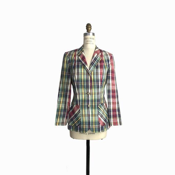 Vintage 1970s Madras Plaid Blazer Jacket / Yuppy Blazer - Women's Small