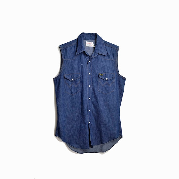 Vintage 70s Wrangler Denim Shirt  / Men's Blue Jean Shirt / Sleeveless Shirt / Western Pearl Snap Shirt - men's medium, extra long