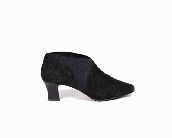 Vintage 90s Black Suede Ankle Booties / Elasticized Slip On Booties / Leather Booties - women's 6