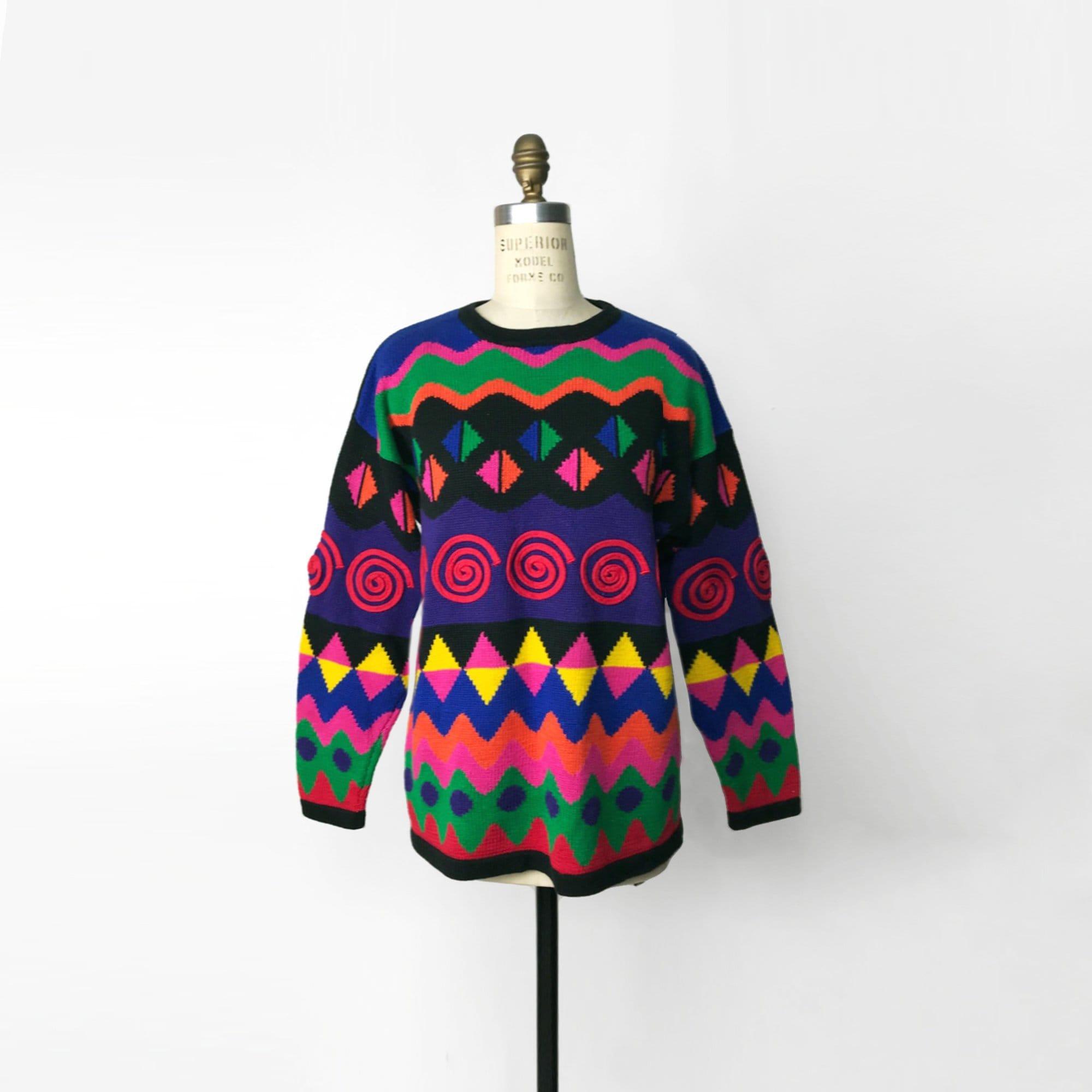 42859adfb6c2 90s colorful swirl sweater