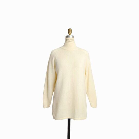 Vintage Ivory Angora Tunic Sweater / Wool Angora Mockneck Sweater in Cream - women's small