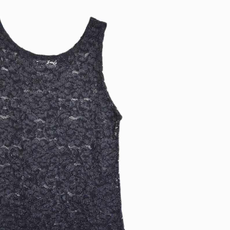 f289d1d68140b Vintage 90s Black Lace Tank Top   Lace Cami   Spandex Top