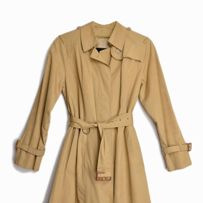 Vintage Tan Trench Coat Belted Trench