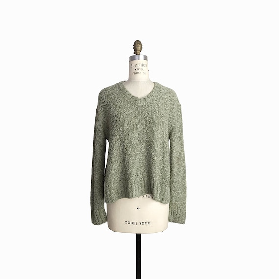 Vintage 90s Boucle Slouchy Sweater in Sage Green / 90s Grunge / Super Soft - women's small