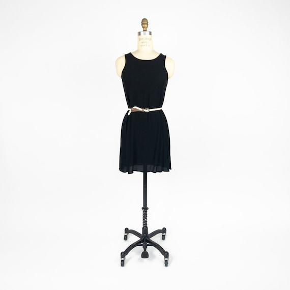 textured black mini dress | tank dress