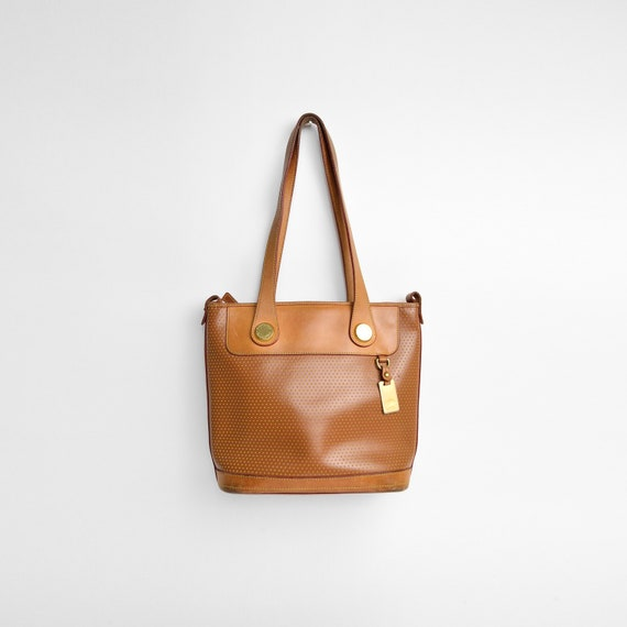 DOONEY & BOURKE Perforated Leather Shoulder Bag in Saddle Brown