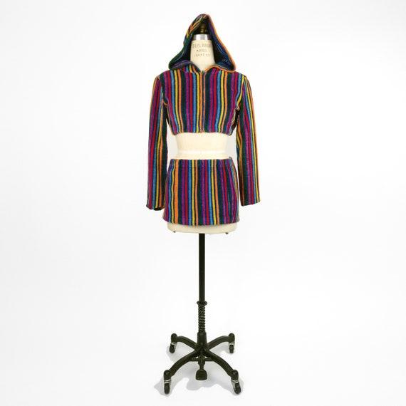 80s rainbow striped mini skirt set | terry-cloth h