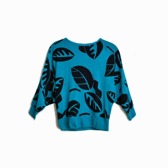 Vintage 80s Cropped Tropical Print Pullover in Black & Teal / 80s Sweatshirt - women's small/medium