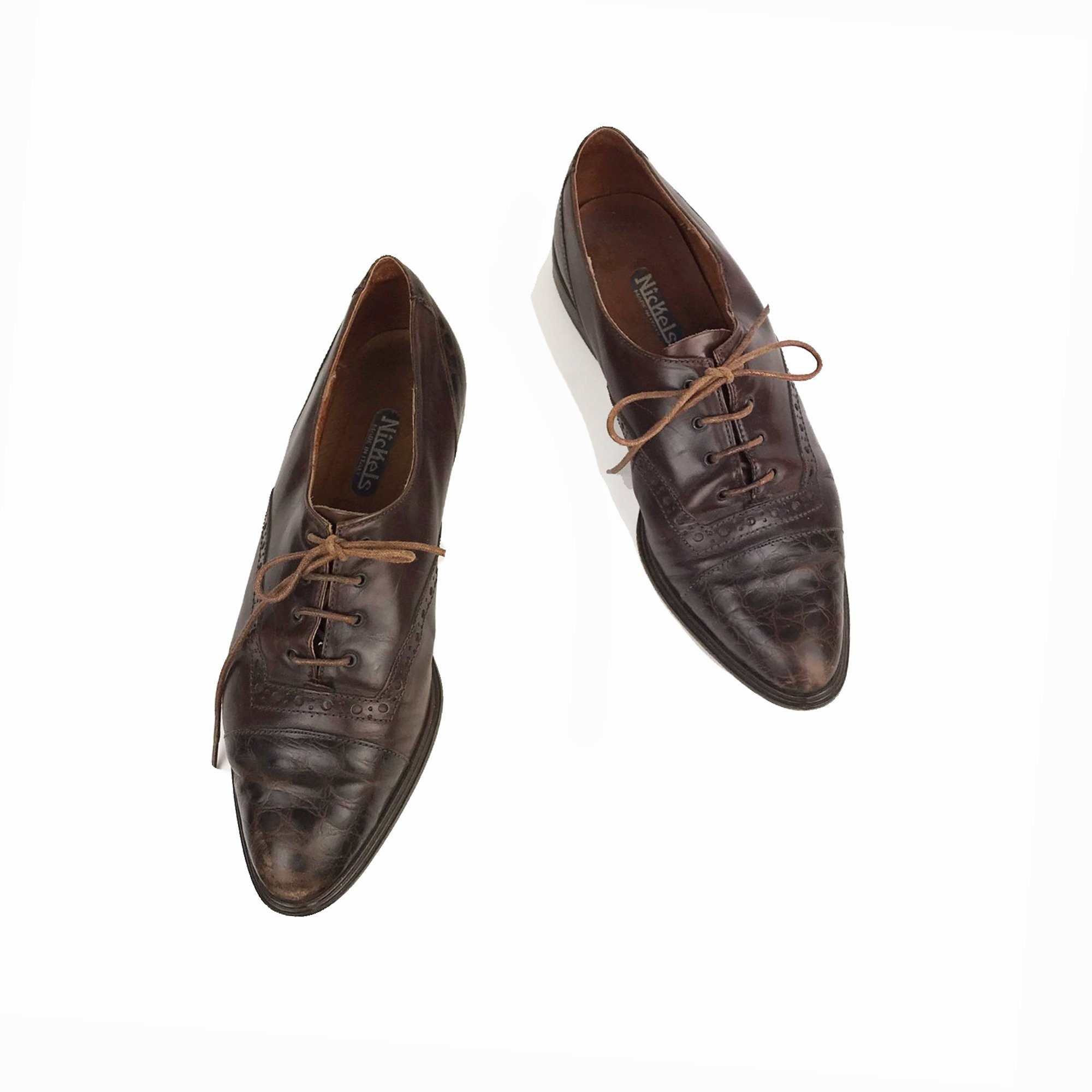Vintage 90s Italian Leather Oxfords Womens Lace Up Brogues