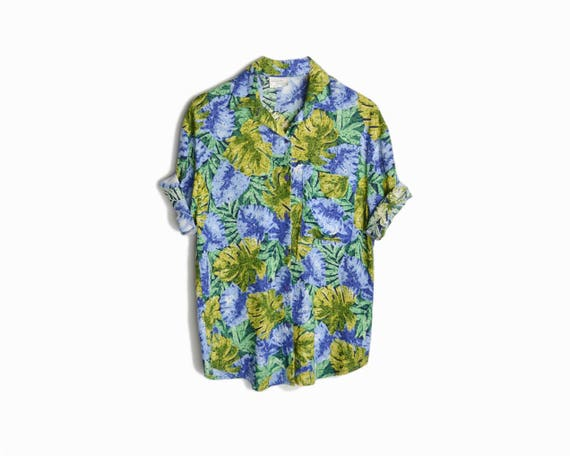 Vintage 90s Monstera Leaf Surf Shirt / Tropical Party Shirt / Colorful Philodendron Leaf Blouse - women's large/xl