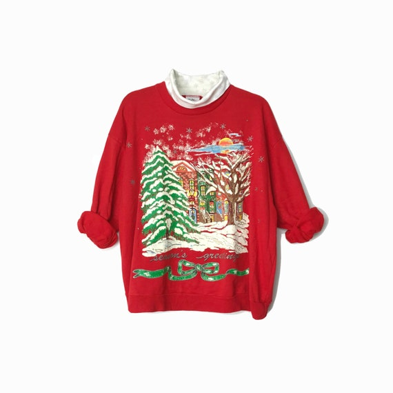 Vintage 90s Ugly Christmas Sweater / Red Holiday Sweatshirt / Brooklyn Brownstones / Vintage Tacky Sweater - Women's Large/XL