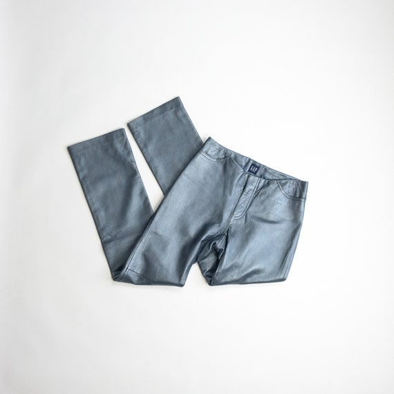 ice blue leather pants | 90s GAP leather pants / metallic blue - women's Size 2 / xs
