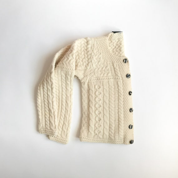 Irish wool sweater | cream wool fisherman cardigan | ivory merino wool | cable knit - women's xs/small