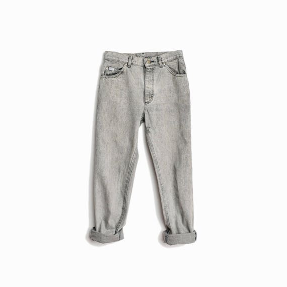 Vintage 90s Gray Stonewashed Ankle Jeans  / 90s Boyfriend Jeans / Gray Denim / Cropped Lee Riders - W 28 x L 28