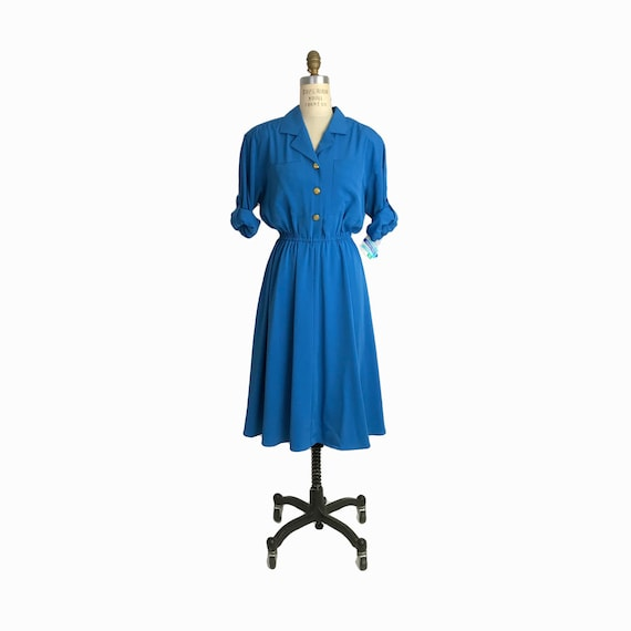 Vintage 80s Silky Blue Shirt Dress with Gold Buttons / Long Sleeve Dress - women's 6 Petite