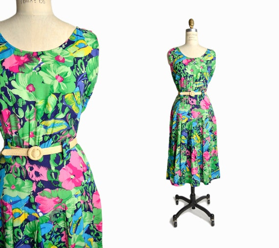 Vintage 80s Floral Print Party Dress / Tropical Summer Dress / Garden Party Dress - women's medium