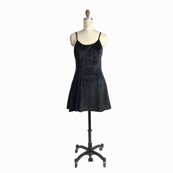 Vintage 90s Black Velvet Skater Dress / Crushed Velvet / Fit and Flare Party Dress / 90s Mini Dress - small