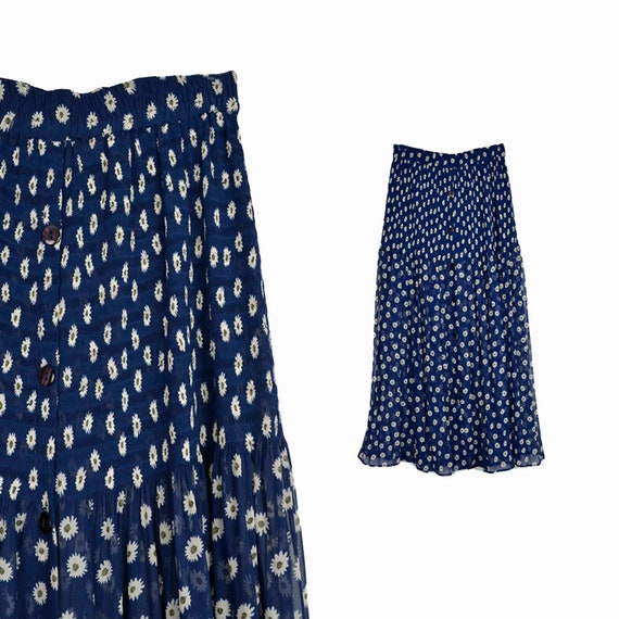 daisy maxi skirt | 90s button front skirt