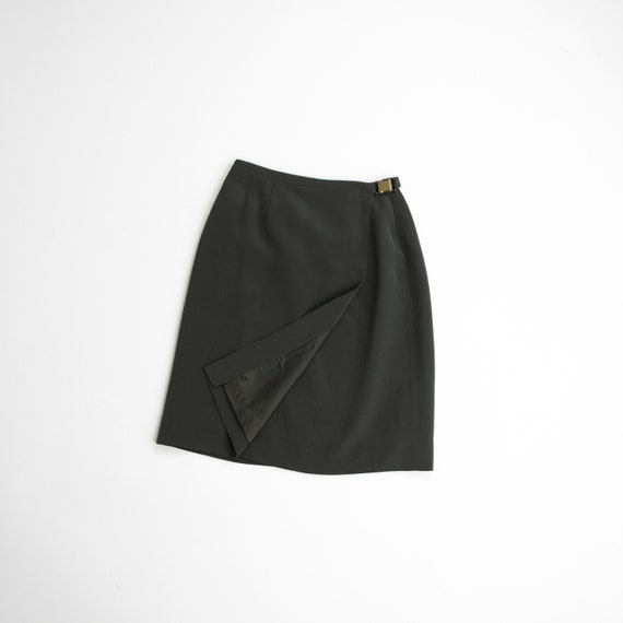 dark olive silk skirt | wrap and buckle skirt