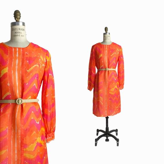 Vintage 1960s VERA Print Shift Dress in Hot Orange / Vera Neumann Ladybug / Chevron Dress / 60s Mod - Women's 4/6