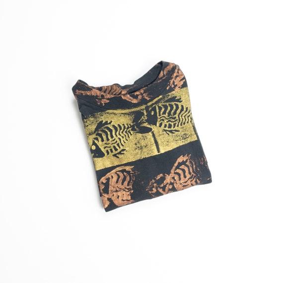 90s fish bones t-shirt | block print tee | men's t-shirt