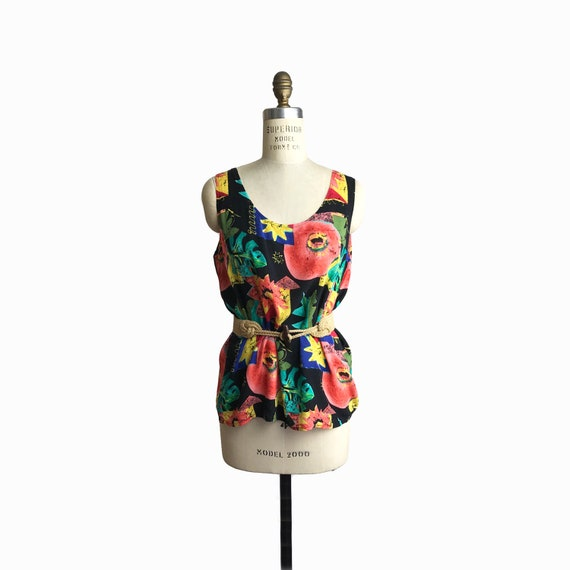Vintage 90s Tropical Print Tank Top / 90s Beach Party Tank / Colorful Fruit Pomegranate Blouse - women's medium