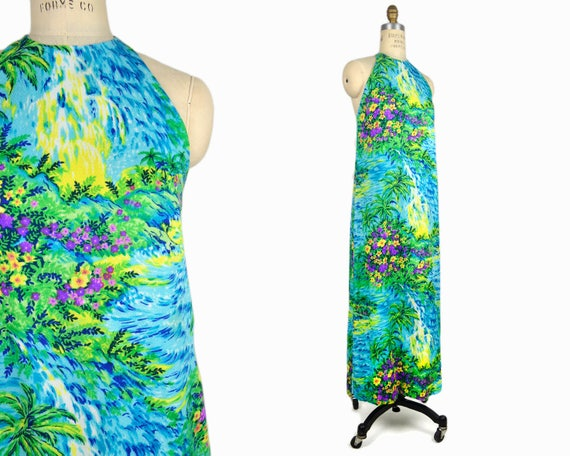 Vintage 70s Hawaiian Waterfalls Dress / 1970s Barkcloth Dress / 1970s Hawaiian Maxi Dress - women's xs/s