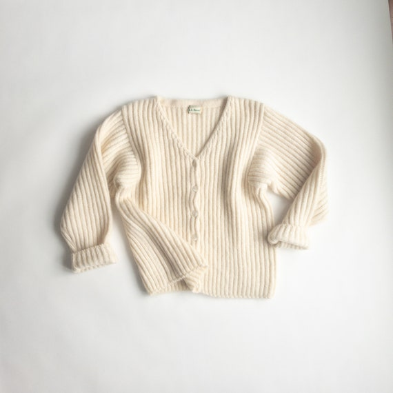 ivory mohair cardigan | boxy ribbed sweater | fuzzy cream cardigan - women's medium