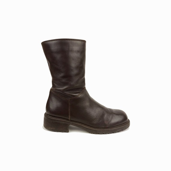 chocolate brown leather boots | low calf boot