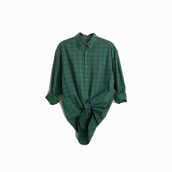 Vintage Perry Ellis America Boyfriend Shirt in Green Plaid / Button Down Cotton Shirt - men's small