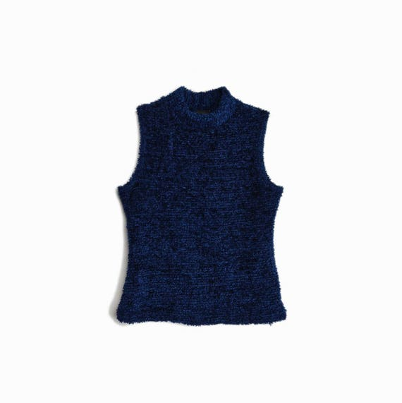 Vintage 90s Plush Sleeveless Turtleneck Top in Midnight Blue / Sleeveless Turtleneck Top / Midnight Blue - women's small