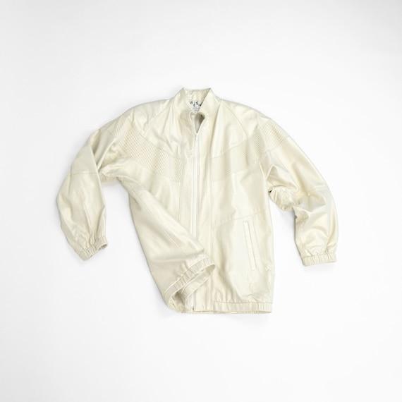 Metallic Pearl Leather Jacket | Oversized 90s Leather Coat