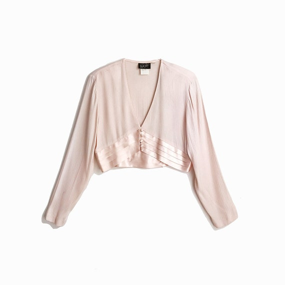 Vintage 90s Blush Pink Cropped Crepe & Satin Top with Bow / Jacket Blouse / Bolero - women's small