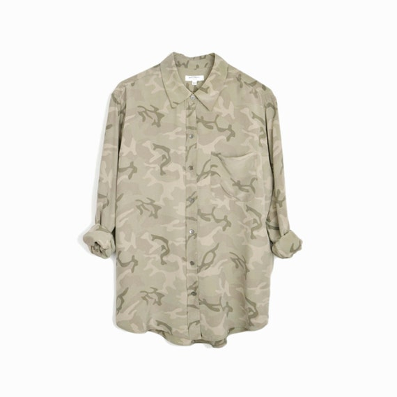 EQUIPMENT FEMME Silk Brett Blouse in Muted Camo Army Green (Used) - Women's Small