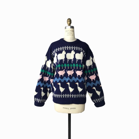 navy blue wooly farm sweater | sheep sweater | pigs & ducks - small/medium