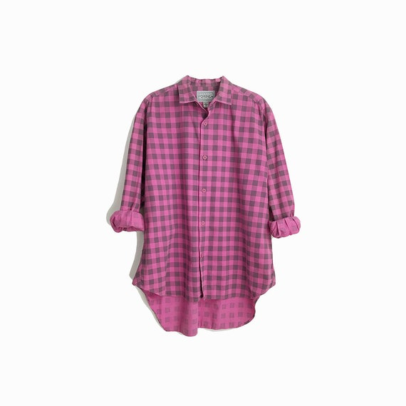 Vintage Boyfriend Shirt in Pink & Gray Plaid / Cotton Shirt - men's small